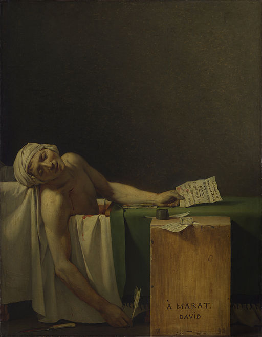 """Jacques-Louis David, """"The Death of Marat."""" 1793. Oil on canvas. (source: Wikimedia commons)"""